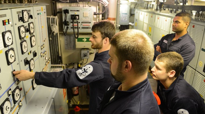 Engineers Conducting Switchboard Drills onboard HMS Northumberland